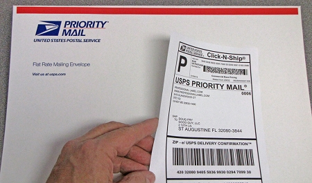 Click N Ship Labels on Flat Rate Envelope #CS6687
